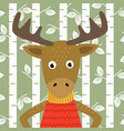 elk on background of birch trees vector image vector image