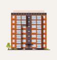 exterior or facade of tall city apartment building vector image vector image
