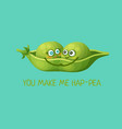 funny green pea characters in love vector image