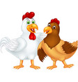 funny white and brown chicken cartoon vector image