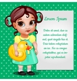 Girl in green dress and card for your text vector image vector image