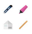 icon flat stationery set of marker letter vector image vector image
