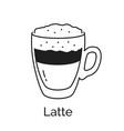 line art latte coffee