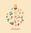 merry christmas ball made of decoration elements vector image