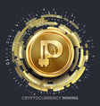 mining peercoin cryptocurrency golden coin vector image vector image