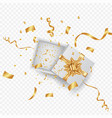 open 3d realistic gift box with gold ribbon and vector image vector image
