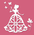 paper carving princess with butterflies and flower vector image vector image