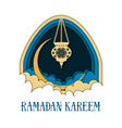 ramadan kareem greeting card template with arch vector image