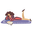 reading book on floor isolated woman lying on vector image vector image