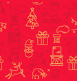red seamless pattern with christmas symbols vector image