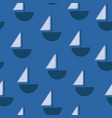 sailboats blue and white seamless pattern vector image