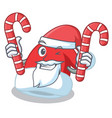 santa with candy christmas hat character cartoon vector image vector image