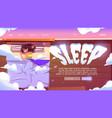 sleep website with woman naps in bed under blanket vector image vector image