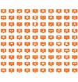 Sport orange message icons set vector image
