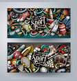 sports hand drawn doodle banners set cartoon vector image vector image