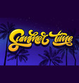 summer time lettering with palm tree and night sky vector image