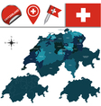 Switzerland map with named divisions vector image vector image