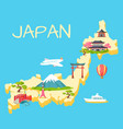travel in japan touristic flat concept vector image vector image