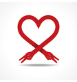 Victory hands make heart shape vector image vector image