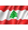 waving flag of lebanese republic vector image vector image