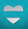 white paper heart on light blue pattern background vector image