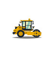 yellow asphalt compactor isolated on white vector image vector image