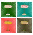 Assembly flat shading style icons cafe sign