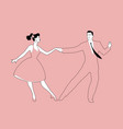 beautiful girl and handsome man dancing rock vector image vector image