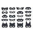 black carnaval silhouette mask set on white vector image vector image