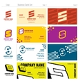 Business card templates with S logo vector image