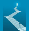 businessman walking up stairs to goal vector image vector image