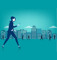 businesswoman walking on city using a smart phone vector image vector image
