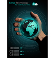 Cloud concept infographics with a real hand vector image
