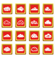 cloud icons set red square vector image vector image
