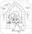Coloring Halloween little witch vector image