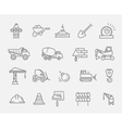 Construction and industrial machinery icon set vector image vector image