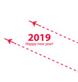 creative happy new year 2019 design with airplane vector image vector image