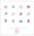 Desserts Line Icons Set vector image