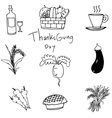 Doodle of vegetable set thanksgiving art vector image vector image