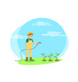 farmer watering vegetables cartoon icon vector image