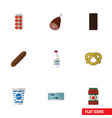 flat icon food set of cookie confection smoked vector image