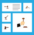 flat icon lawyer set of legal tribunal court and vector image vector image