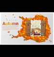 Hello autumn background with little boy vector image vector image