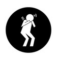 human figure coughing in hands health pictograph vector image vector image