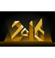 Inscription 2016 golden on a black background vector image