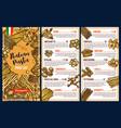italian cuisine pasta menu template vector image vector image