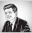 john f kennedy jfk portrait cartoon drawing vector image