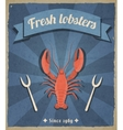 Lobster retro poster vector image vector image