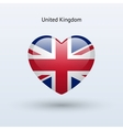 Love United Kingdom symbol Heart flag icon vector image vector image