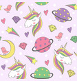 magic seamless pattern with unicorn and planets vector image